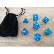Dice set with fabric bag (4-6-8-10-12-20-%)