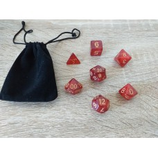 Dice set with fabric bag (4-6-8-10-12-20-%)