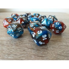 20-sided dice (blue / brown)
