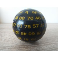 100-sided dice (black, yellow number)