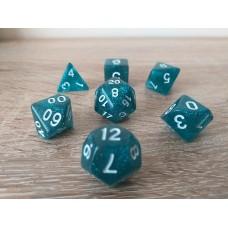 Dice set (4-6-8-10-12-20-%) blue, pearl