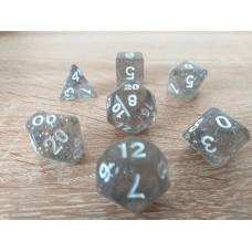 Dice set (4-6-8-10-12-20-%) colorless, pearl