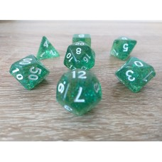 Dice set (4-6-8-10-12-20-%) green, pearl